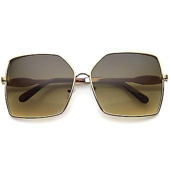Dame Metal Square solbriller med UV400 beskyttet Gradient linse