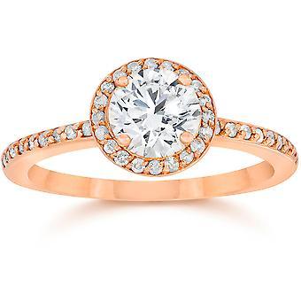 7/8 Carat Diamond Halo Engagement Ring 14K Rose Gold