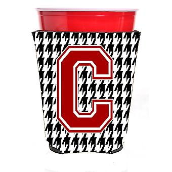 Monogram - Houndstooth  Initial  C Red Solo Cup Beverage Insulator Hugger