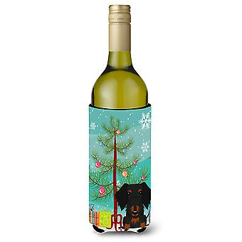 Merry Christmas Tree Wire Haired Dachshund Black Tan Wine Bottle Beverge Insulat