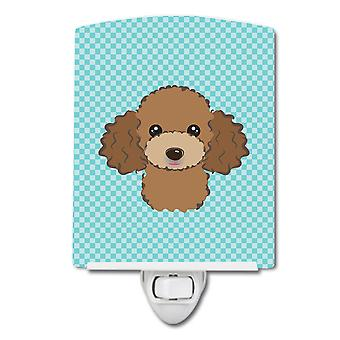 Checkerboard Blue Chocolate Brown Poodle Ceramic Night Light