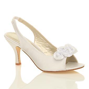Ajvani wedding bridal ladies prom shoes low heel bridesmaid evening sandals