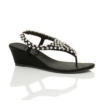 Post Ajvani womens metà Cuneo slingback in rilievo diamante gioiello infradito tacco sandali