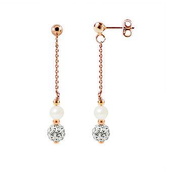 Ører Pendantes belagte øreringe guld steg hvid kulturperler perler og krystal hvid