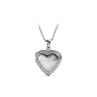 Rhodium-plated Women's Heart Plated Medallion pendant adorned with Swarovski White Crystal 7251