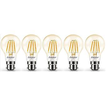 5 X Energizer LED Filament GLS Light Bulb Lamp Vintage BC B22 Clear 4.2W = 40W BC B22 Cap [Energy Class A+]