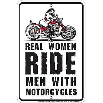 Las mujeres de verdad montar a hombres con motos aluminio divertido cartel