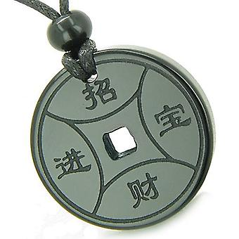 Amulett magi Lucky Coin Fortune symboler MedalliOnyx andlig skydd befogenheter hängsmycke halsband
