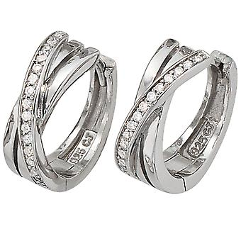 Earrings hoops, 925-sterling silver, D rhodium plated, with cubic zirconia, Keywork 15.9 mm