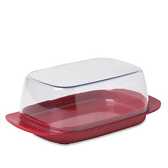 Rosti Mepal Plastic Butter Dish, Clear with Luna Red Base