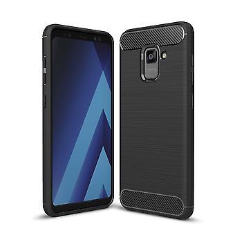 Samsung Galaxy A8 plus 2018 TPU caso carbonio fibra ottica spazzolato nero custodia protettiva