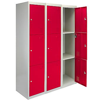 Lockable Lockers Steel Storage 3 x 3 Doors Assembled Changing Room Staff Gym