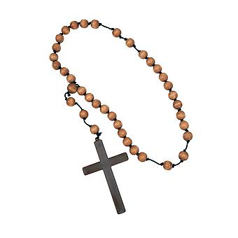 Monk Friar Tuck Medievel Priest Men Costume Wooden Beads Cross Necklace