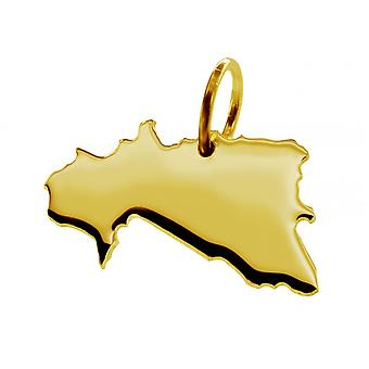Trailer map pendants in gold yellow-gold in the form of BURKINA FASO