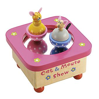 Tidlo Wooden Musical Cat & Mouse Music Box Kids Traditional Gifts