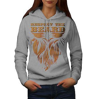 Respect Beard Hippie Women GreyHoodie | Wellcoda