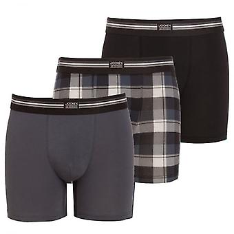 Jockey puuvilla Stretch 3-Pack Boxer trunk, musta/Check/harmaa, pieni