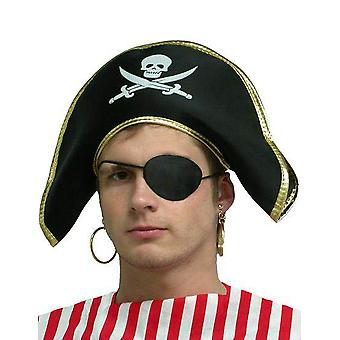 Pirate Hat. Fabric/Gold Edging.