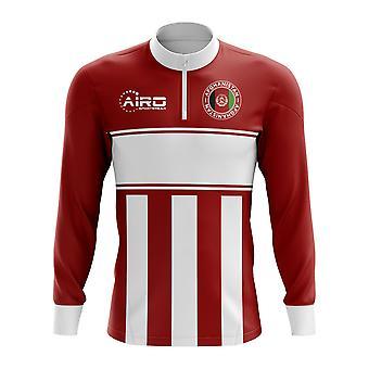 Afganistan koncept futbal Half zips Midlayer top (červeno-biela)