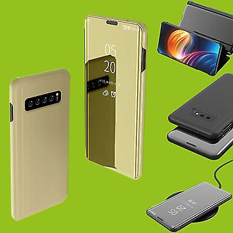 Für Samsung Galaxy S10 G973F 6.1 Zoll Clear View Spiegel Mirror Smart Cover Gold Tasche Hülle Case Wake UP