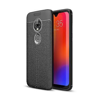 Motorola Moto G7 / G7 Plus TPU skal Litchi Texture - Svart