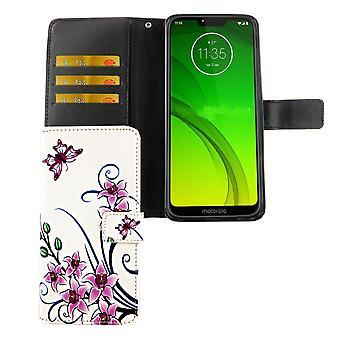 Housse de protection boîtier mobile de Motorola Moto G7 poche Flip case avec porte-cartes fleur de Lotus