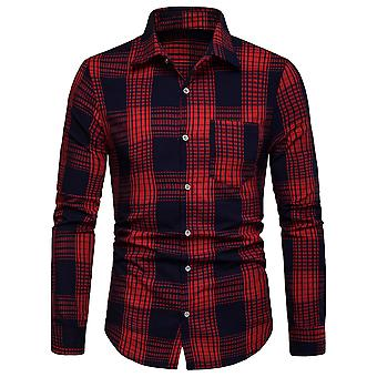 Allthemen Men's Long Sleeve Shirt Plaid Colorblocked Business Shirt