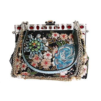 Multicolor vanda floral embroidered bag