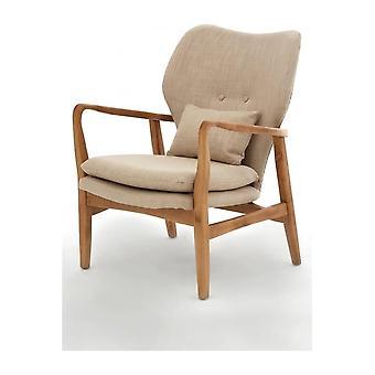 Fusion Living Beige Tapissé Mid Century fauteuil scandinave