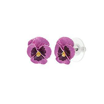 Eternal Collection Pansy Perfection Pink Enamel Silver Tone Flower Stud Pierced Earrings