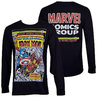 Captain America und Iron Man Doppel Feature Comic schwarz Langarm Shirt