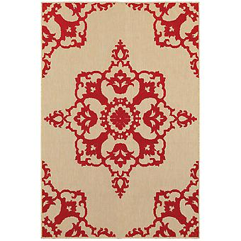 Cayman 097r9 sand/ red indoor/outdoor rug rectangle 7'10