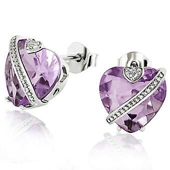Goldmaid zilveren vrouwen oorbellen geoxideerd paars Cubic hart