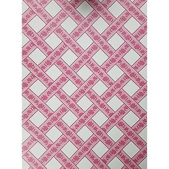 Lattice Geometric Stripes Wallpaper Floral Pink White Girls Children's East West