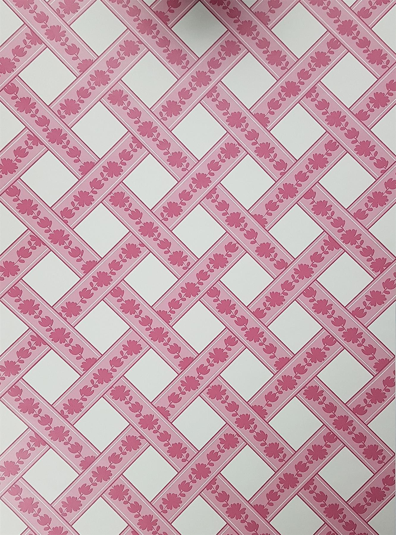 Lattice Geometric Stripes Wallpaper Floral Pink White Girls