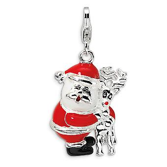 925 Sterling Silver Polished Fancy Lobster Closure 3 D Enameled Santa and Reindeer With Lobster Clasp Charm Pendant Neck