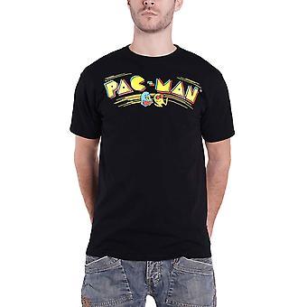 パックマンTシャツレトロゲーマーロゴ新しい公式メンズブラック