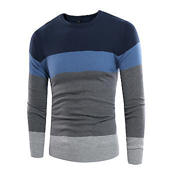 Allthemen Men's Colorblocked Round Collar Cotton Sweater
