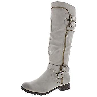 WHITE MOUNTAIN Womens Remi Faux Leather Riding Boots Gray 10.5 Medium (B,M)