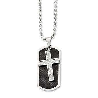 Stainless Steel Polished Moveable Fancy Lobster Closure Carbon Fiber Cross and Dog Tag Pendant 24inch Necklace - 24 Inch