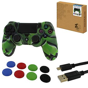Protect & play kit for ps4 inc silicone cover, thumb grips & 3m charging cable - camo green