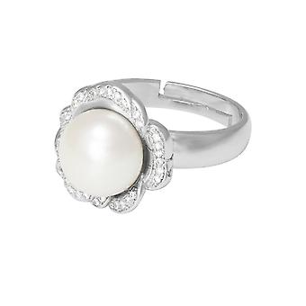 Eternal Collection Supreme White Freshwater Pearl And CZ Sterling Silver Adjustable Ring