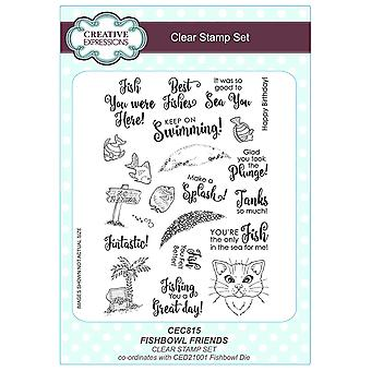 Expressions créatives A5 Clear Stamp Set - CEC815 Fishbowl amis