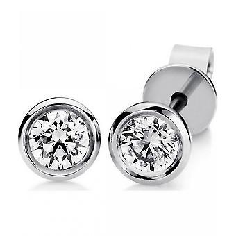 Diamond stud earrings - 14K 585/- White gold - 0.1 ct.
