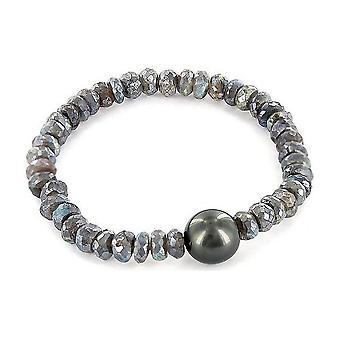 Luna-pärlor pärlstav armband Tahitiperle 12-13 mm Labradorite 3001214