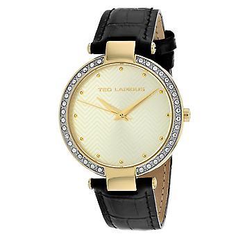 Ted Lapidus Damen's klassische Gold Zifferblatt Uhr - A0732PTPN