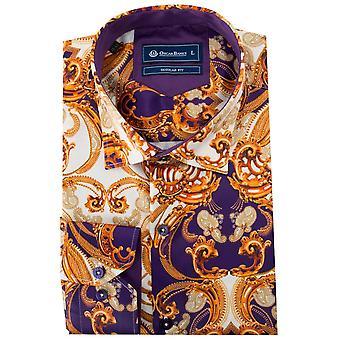 Oscar Banks Paisley Baroque  Print Mens Shirt