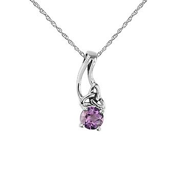 "Celtic Holy Trinity Eternity Knotwork Drop Style Necklace Pendant - Amethyst Stone - Includes A 18"" Silver Chain"