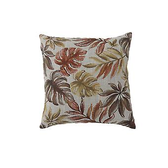 Contemporary Style Leaf Designed Set of 2 Throw Pillows, Red