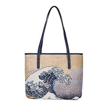 Hokusai - great wave off kanagawa shoulder tote bag by signare tapestry / coll-art-jp-wave